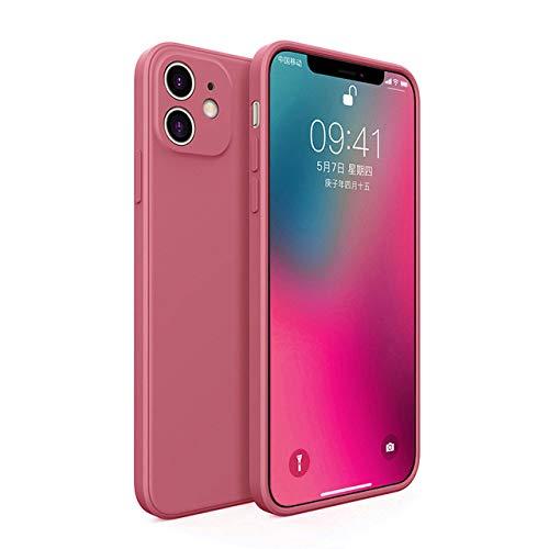 AAA&LIU Funda de teléfono de Silicona líquida Cuadrada para iPhone 11 Pro MAX X XS XR 8 7 6 6s Plus Nueva Funda de Color sólido Suave Coque, Rojo Vino, para iPhone 7