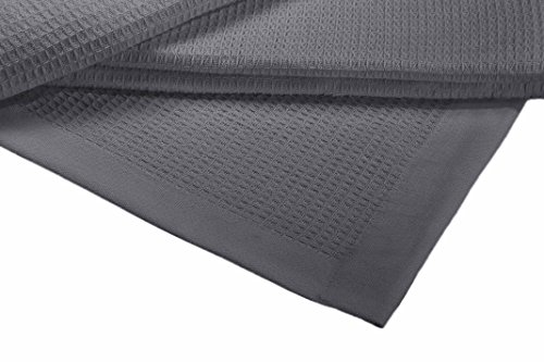 Crover Collection All Season Thermal Waffle Cotton Twin Blanket 66x90 Dark Grey with Deep Plain Edge Border Durable and Soft