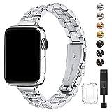 BesBand apple Watch バンド 38mm 40mm 42mm 44mmと互換性のあるアップグレードバージョンソリッドステンレススチールバンドビジネス交換,apple Watch交換用ストラップウィメンズメンズ,iwatch Series 5 4 3 2 1