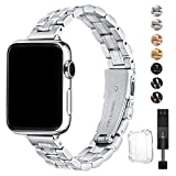 HEKAI Armband Kompatibel mit Apple Watch Armband 38mm 42mm 40mm 44mm Metall,Schlank Verstellbare...