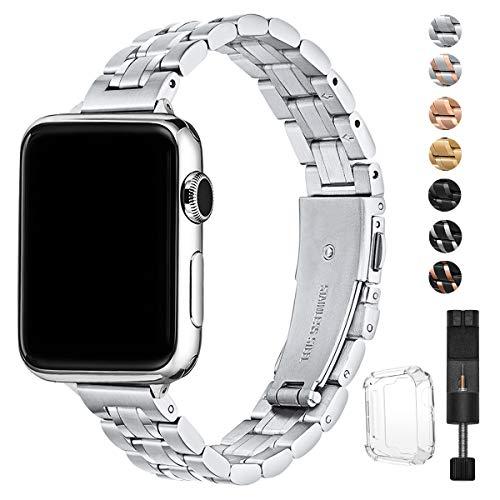 HEKAI Armband Kompatibel mit Apple Watch Armband 38mm 42mm 40mm 44mm Metall,Schlank Verstellbare Edelstahl Ersatzbänder für die iWatch Serie 5/4/3/2/1 (38mm 40mm, Silber)