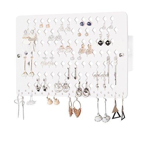 JackCubeAZB Wandhalterung Ohrring Jewelry Holder Organizer Aufhänger Storage Rack Display transparenten Acryl mit 60 Löchern - mk131 a 94holes(white)