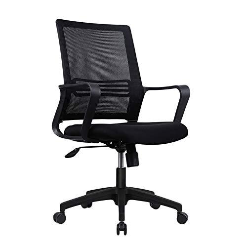 Verstellbarer Schreibtischstuhl FüR Zuhause mit Drehgelenk und RäDern, Home-Office-Stuhl aus Mesh, Ergonomischer BüRostuhl aus Mesh, BüRostuhl mit Armlehnen,Schwarz,Swivel Chair