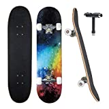 JECOLOS Pro Skateboard Complete 7 Layers Deck 31'x8' Skate Board Maple Wood Longboards for Adults Teens Youths Beginners Girls Boys Kids (Nebulae)