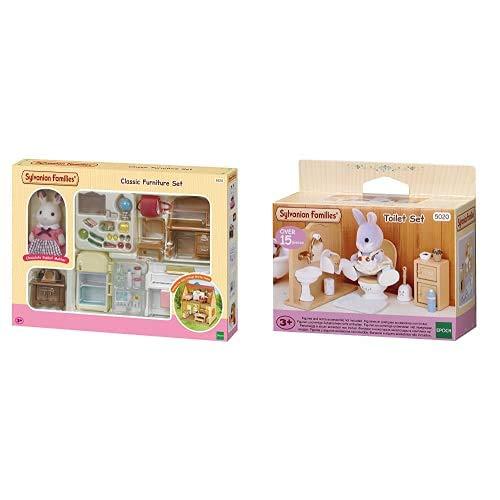 Sylvanian Families- Classic Furniture for Cosy Cottage Starter Home Set Mini muñecas y Accesorios, Multicolor (Epoch para Imaginar 5220) + Toilet Set Mini muñecas y Accesorios, Color/Modelo Surtido