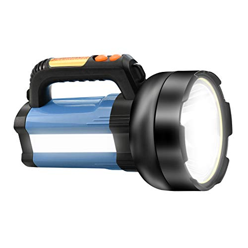Proyector de antorcha LED recargable de 15000 mAh, luz de camping multifuncional 3000LM, foco exterior impermeable, linterna de haz de alta potencia, linterna liviana (Azul)