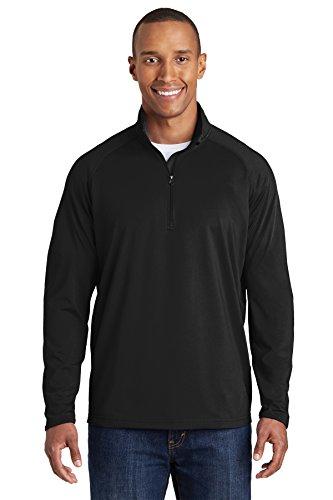 SPORT-TEK Men's Sport Wick Stretch 1/2 Zip Pullover L Black