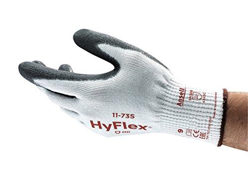 Ansell HyFlex 11-735 Schnittfester Arbeitshandschuhe, Mechanikschutzhandschuh, Abriebfest und Erweiterte Griffsicherheit Grau Schwarz Größe 8 (12 Paar)