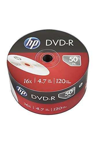 electricalcentre – Spool of 50 HP Logo DVD-r 4.7 GB 16 x (50 Pieces of 120 Mins Recordable DVD Bulk Packed Spool)
