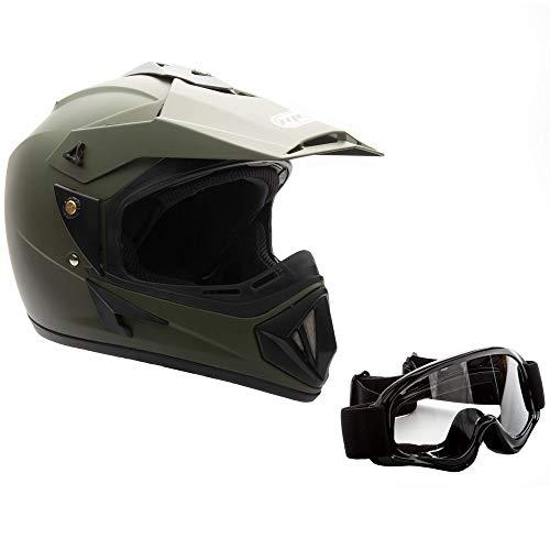 MMG Adult Motorcycle Off Road Helmet DOT - MX ATV Dirt Bike Motocross UTV - with Goggles (Medium, Military Green)