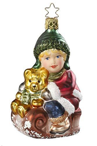 Slitta viaggio, albero di Natale ciondolo, Original Inge vetro dalla Turingia, Vetro soffiato, dipinto a mano#