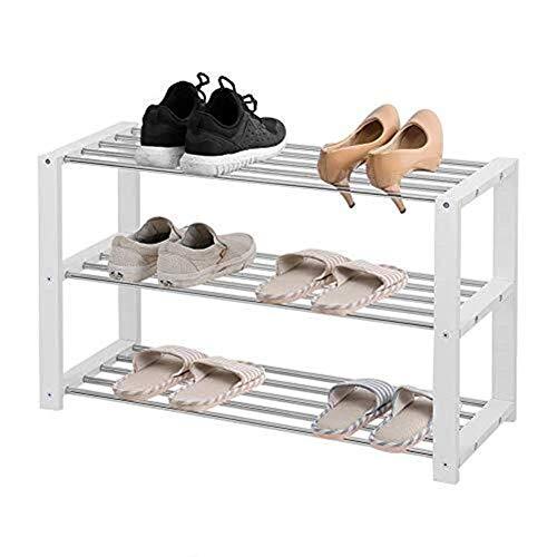 Inicio Equipo Zapatero Estante para zapatos de acero inoxidable de 3 niveles Banco de almacenamiento de zapatos Organizador de estantes Marco de madera sólida Soporte para zapatos de tubo blanco pa
