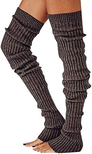 Women s Thick Winter Long Knit Leg Warmers Solid Color Thigh High Footless Socks Coffee One product image