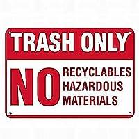2個 ゴミ箱のみリサイクル可能なものはありません危険なブリキの看板金属板装飾看板家の装飾プラーク看板地下鉄金属板8x12インチ メタルプレートブリキ 看板 2枚セットアンティークレトロ