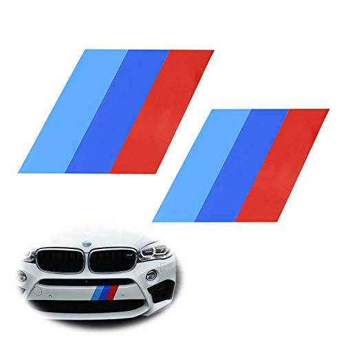 iJDMTOY (2) 7x7-Inch Iconic M-Performance Tri-Color Decal Stickers Compatible With BMW Side Skirt, Bumper, Hood Cosmetic Decoration, Made w/Reflective Material