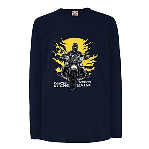 lepni.me Kinder-T-Shirt mit Langen Ärmeln für Immer reiten, für Immer Leben - Motorradslogans, Motorrad-Zitate, Radfahrer-Geschenk-Ideen (7-8 Years Blau Mehrfarben)