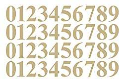Gold vinyl decal numbers