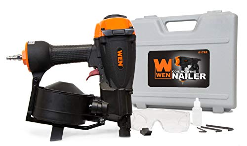 WEN 61782 3/4-Inch to 1-3/4-Inch Pneumatic Coil Roofing Nailer with Carrying Case