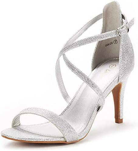 DREAM PAIRS Women s Dolce Silver Glitter Fashion Stilettos Open Toe Pump Heel Sandals Size 7 product image