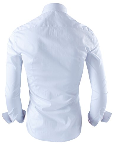 Tom's Ware Mens Premium Casual Inner Contrast Dress Shirt TWNMS310S-1-312-WHITE-M