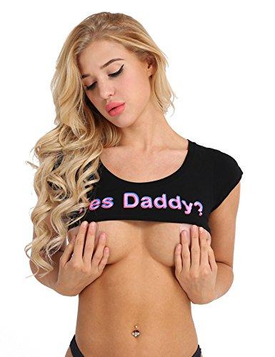 TiaoBug Damen sexy Crop Top Kurzarm Sommer T-Shirt bauchfrei Super Kurz Strech Baumwolle Frauen Erotik Dessous Unterwäsche Cosplay Kleidung Schwarz One Size