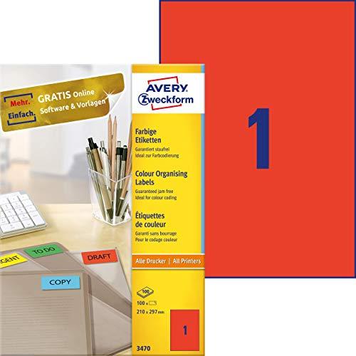 Avery 3470 - Etiquetas universales (210 x 297 mm, para todas las impresoras A4), 100 unidades, color rojo