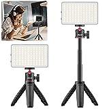 Kit de iluminación de videoconferencia, VIJIM luz de fotografía Recargable con Soporte de portátil trípode, lámpara Escritorio de Oficina para Trabajo Remoto, Estudio,Negro (1 Paquete)