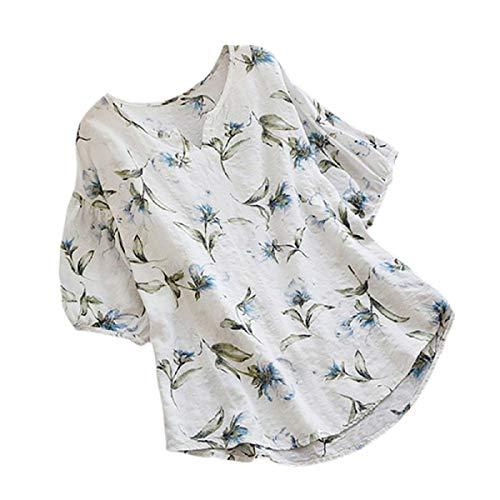 Zimuuy Zimuuy Damen Sommer Bluse, Frau Boho Vintage Beiläufig V-Ausschnitt Floral Print Kurzarm T Shirt Oberteile (XXL, Weiß)