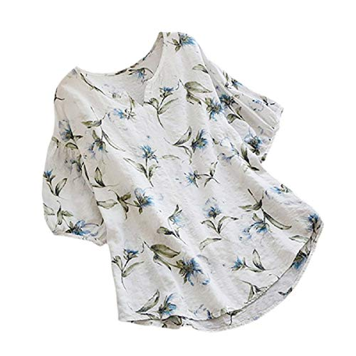 Zimuuy Zimuuy Damen Sommer Bluse, Frau Boho Vintage Beiläufig V-Ausschnitt Floral Print Kurzarm T Shirt Oberteile (S, Weiß)
