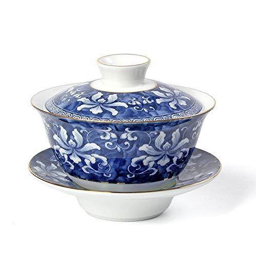 LOYWT Descripción Fina Tapa de Oro tazón de cerámica Juego de té de Kung fu Tetera