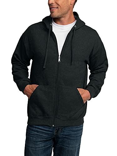 Fruit of the Loom Men's Eversoft Fleece Sweatshirts & Hoodies, Full Zip-Black Heather, Large