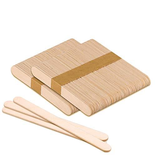 lofuanna 100 Stücke Eisstiele Aus Holz, Natur Holzstäbchen ,Popsicle Eisstange,Holzspatel Stiele ,DIY Handwerk Bastelarbeiten