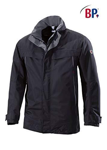 BP 1871-885-32-M Wetterfeste Jacke, Stehkragen, verstellbare Kapuze, 150,00 g/m² 100% Polyamid, schwarz/dunkelgrau, M