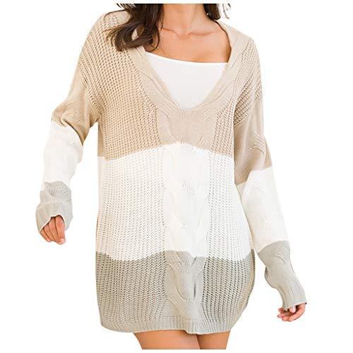 EUCoo - Jersey de punto para mujer, manga larga, con cuello en V, para otoño e invierno, diseño de patchwork