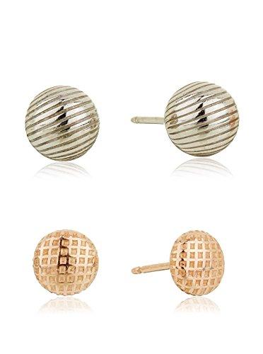 Córdoba Jewels |Set de pendientes en plata de Ley 925 bañado en rodio y oro. Diseño Set Sferas Disco rodio