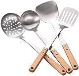 Utensilios Cocina de Silicona Resistentes al Calor Juego de Cocina de Acero Inoxidable de 4 Piezas Manera de Madera Sopa de Sopa Spoon Pancake Spatula Fácil de Limpiar