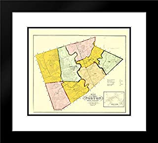 Norton Massachusetts - Walling 1855 22x20 Black Modern Frame and Double Matted Art Print by Walling Vintage Map