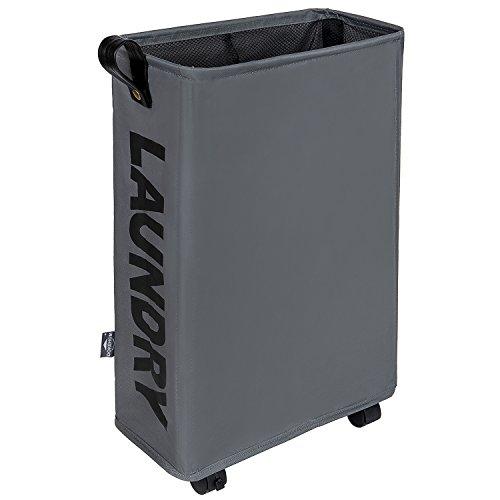DOKEHOM Slim Laundry Basket with Leather Handle on Wheels (4 Colors), Foldable Corner Storage Bins, Collapsible Rolling Laundry Hamper (Dark Grey, Slim)