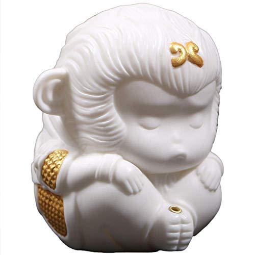 MWKLW Statuetta in Ceramica del re Scimmia, Scultura Sun Wukong, Porta incenso, Accessori, Ornamenti, Regalo di congratulazioni per l'inaugurazione della casa, Decorazione per la casa, Bianco