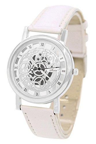 TOOGOO Damen Herren Skelett Uhr Kunstleder Armband Analog Quarz Armbanduhr Sport Weiss band & Silber Zifferblatt
