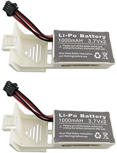 ZYGY 2PCS 3.7Vx2 1000mah LiPO-batteri för UDI U818S U842 U842-1 U818S-HD WiFi FPV RC Quadcopter Drone-batteri (vit)