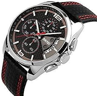 Reloj para hombre con correa de cuero, resistente al agua hasta 30 m, analógico, movimiento de cuarzo, calendario, cronómetro, diseño deportivo con segundero y detalles en rojo