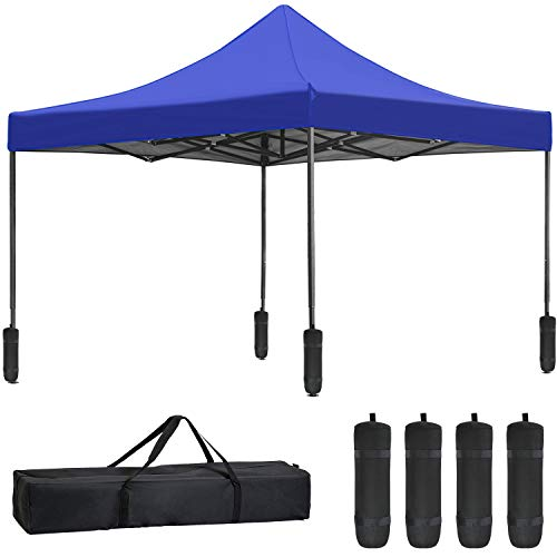 10 x 10ft Pop Up Canopy Tent,Party Tent Ez Up Canopy Sun Shade Wedding Instant Folding Protable Better Air Circulation Outdoor Gazebo with Backpack Bag (Blue)