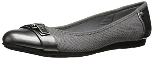 Anne Klein Sport Women's Able Fabric Ballet Flat, Grey, 5 M US