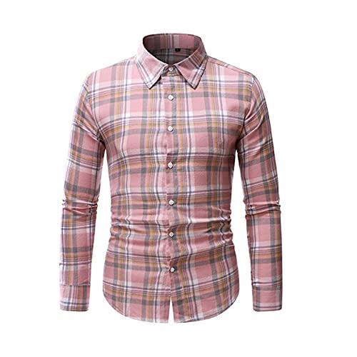 riou Camisas Hombres Camisa Hombre Manga Larga Otoño Ropa Impresión a Cuadros...