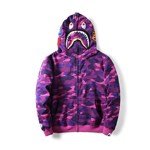 Tide Bape Brand Camouflage Shark Plus Velvet Casual Cardigan Couple Hooded Jacket