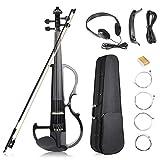 Vangoa Black Full-size 4/4 Vintage Solid Wood Metallic Electronic Silent Maple Wood Violin