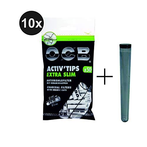 kogu Set OCB Activ Tips Extra Slim, 500 Stück, 6 mm Aktivkohlefilter Filtertips - inkl. J-Hülle