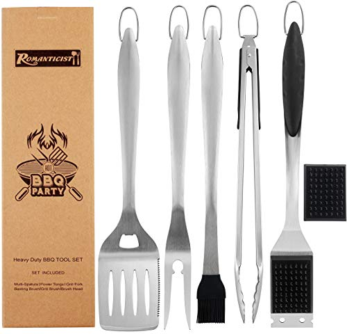 ROMANTICIST 6pc Heavy Duty Grill Accessories for Top Chef - Professional Grill Tools Set & Basic BBQ Tools for Backyard Restaurant Outdoor Kitchen