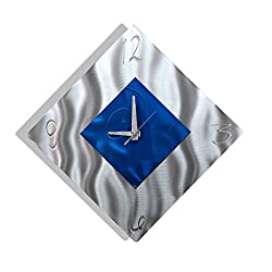 Blue Metal Decorative Wall Clock, Abstract Modern Clock for Living Room or Kitchen, Jon Allen Metal Art, Spare Moment Clock